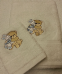 TEDDY AND RABBIT PERSONALISED TOWEL SET - SKY BLUE